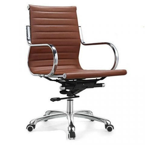 Steel Frame Low Back Staff Office Chair PU Leather Conference Meeting Chairs  With Ergonomic Design